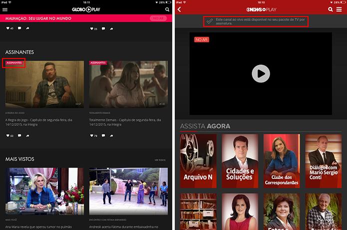 Globo Play e Globosat Play indicam se conteúdo está disponível para o usuário (Foto: Reprodução/Elson de Souza)