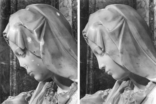 Montagem mostra a Pietá de Michelangelo danificada (à esq.) após ataque em 21 de maio de 1972 em que húngaro deu 12 maretaladas na obra-prima renascentista; imagem da direita mostra polêmico trabalho de restauração (Foto: Museu do VaticanoReuters)