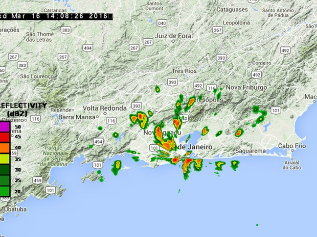 Imagens do radar metereológico do Centro de Operações Rio mostra pancadas de chuva forte sobre a cidade (Foto: Reprodução/ Centro de Operações Rio)