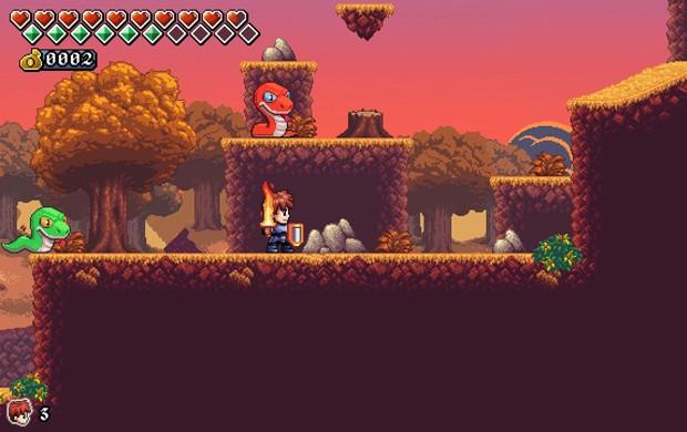 Game 'A lenda do herói' homenageia clássicos como 'The Legend of Zelda' e 'Wonder Boy' (Foto: Divulgação/Castro Brothers)