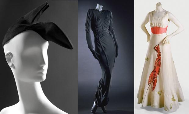 Criaes da estilista Elsa Schiaparelli: o chapu-sapato, o vestido esqueleto e o com estampa de lagosta.  (Foto: Reproduo )