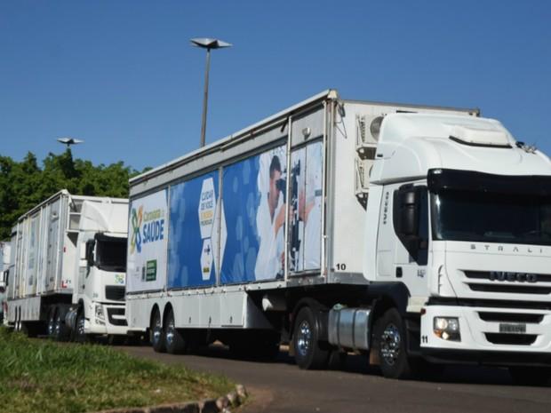 Carretas da Caravana da Saúde chegaram uma semana antes na capital (Foto: Jéssica Barbosa/Assecom)