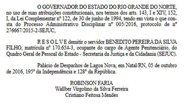 Demissão do agente penitenciário foi publicada na edição desta segunda-feira (7) do Diário Oficial do Estado (Foto: Diário Oficial do RN/Reprodução)