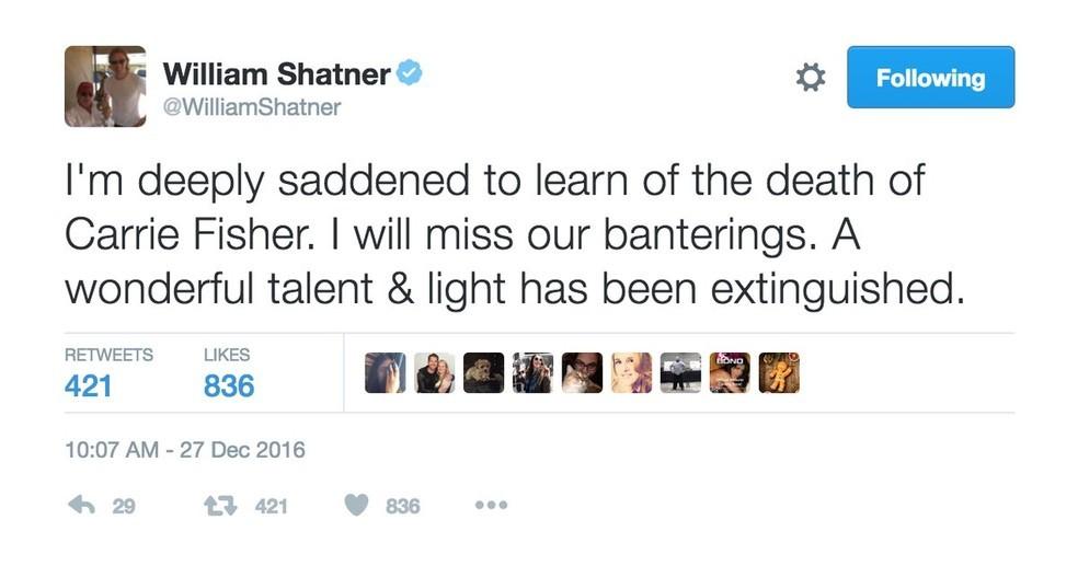 William Shatner, o Capitão Kirk de Star Trek (Foto: Reprodução/Twitter)