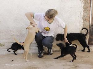 Ivana Lima, voluntaria brincando com os animais. (Foto: Valdivan Veloso/G1)