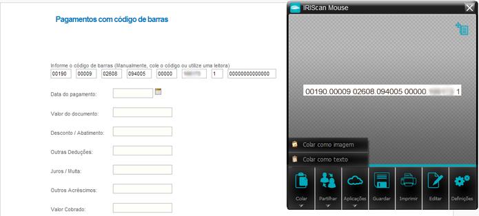 """Para enviar o código de barras para o pagamento de contas, basta clicar em """"Colar como texto"""" (Foto: Carol Danelli/TechTudo)"""