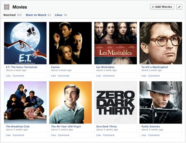 Área para usuário compartilhar filmes que o usuário gosta para amigos do Facebook (Foto: Divulgação/Facebook)