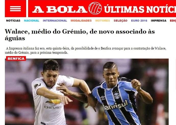 Jornal A Bola coloca Walace na mira do Benfica (Foto: Reprodução )
