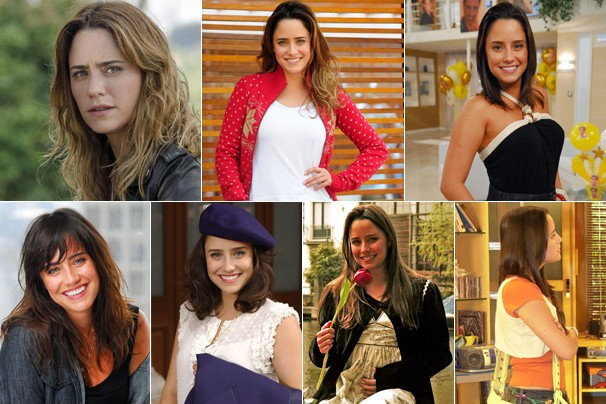 A atriz Fernanda Vasconcellos em Sangue Bom (2013), A Vida da Gente (2011), A Turma do Didi (2010), Tempos Modernos (2009), Desejo Proibido (2007), Páginas da Vida (2006) e Malhação (2005) (Foto: Rede Globo)
