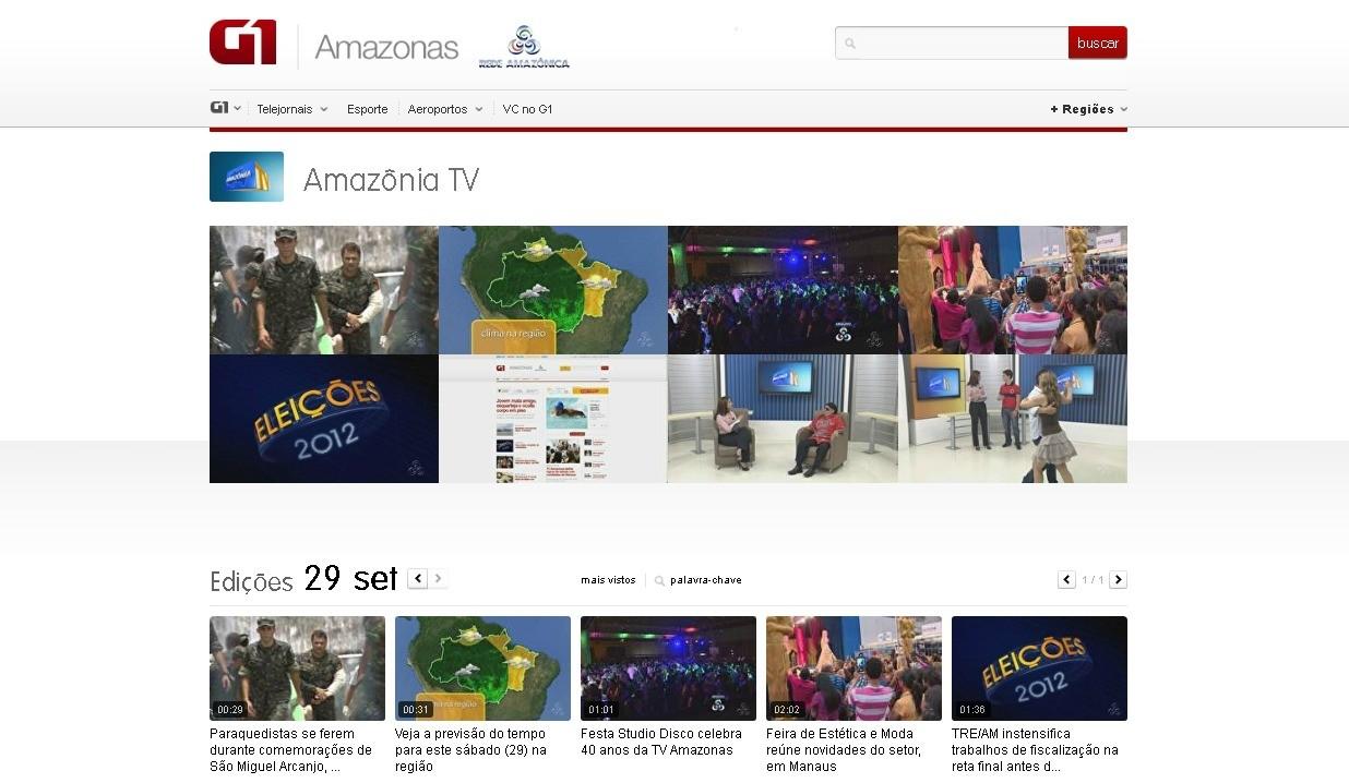 No G1 Amazonas, o internauta pode acessar os vídeos dos telejornais (Foto: Amazônia TV)