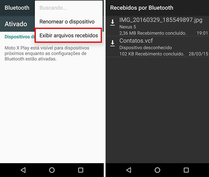 Acesse a lista de transferências via Bluetooth (Foto: Reprodução/Paulo Alves)