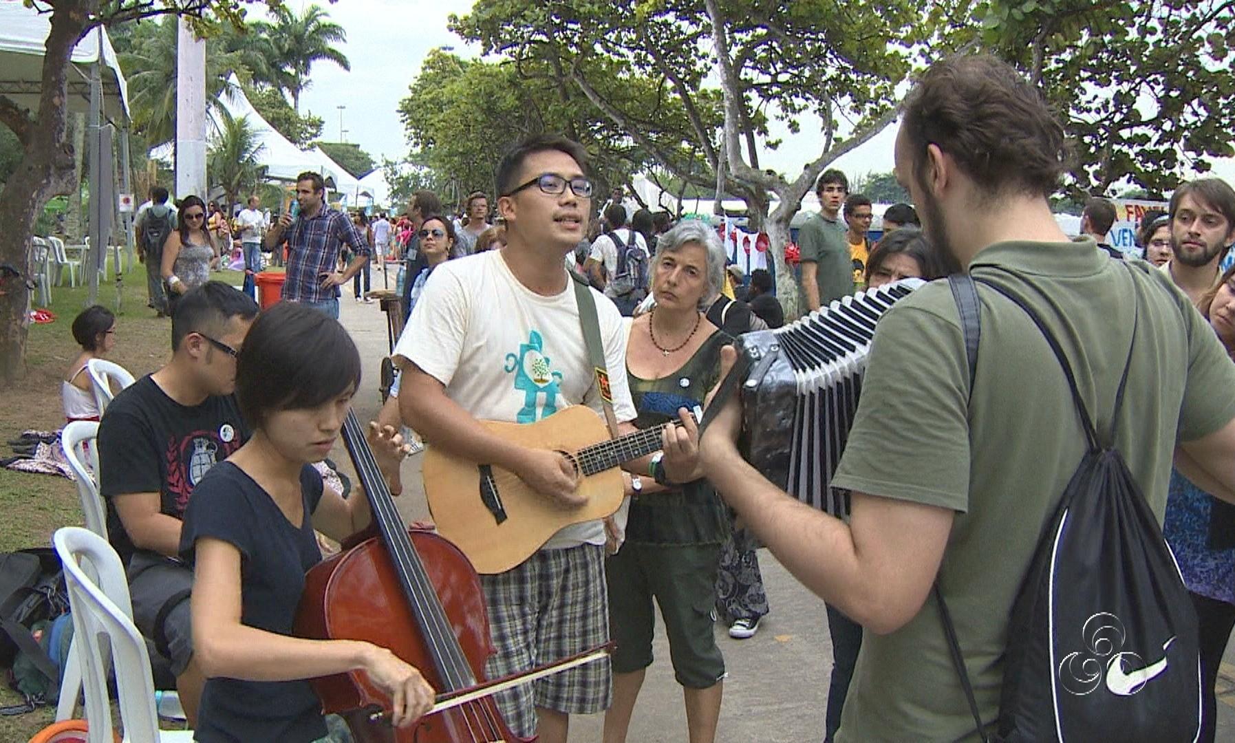 Rio+20 reuniu pessoas de vários países que mostraram um pouco da sua cultura (Foto: Amazônia TV)
