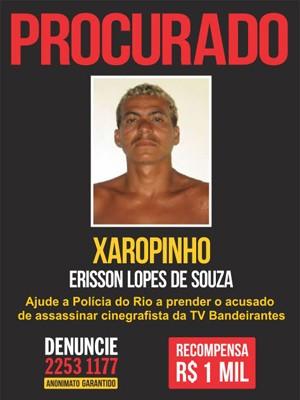 Disque-Denúncia divulgou cartaz de suspeito de matar cinegrafista  (Foto: Divulgação/Disque-Denúncia)