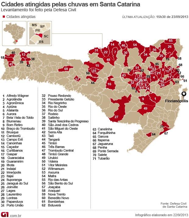 Novo Mapa Chuvas Santa Catarina 71 cidades (Foto: Editoria de Arte/G1)