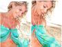 Karina Bacchi posa de biquíni e mostra barriguinha de grávida