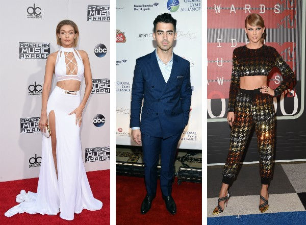 Gigi Hadid, Joe Jonas e Taylor Swift (Foto: Getty Images)