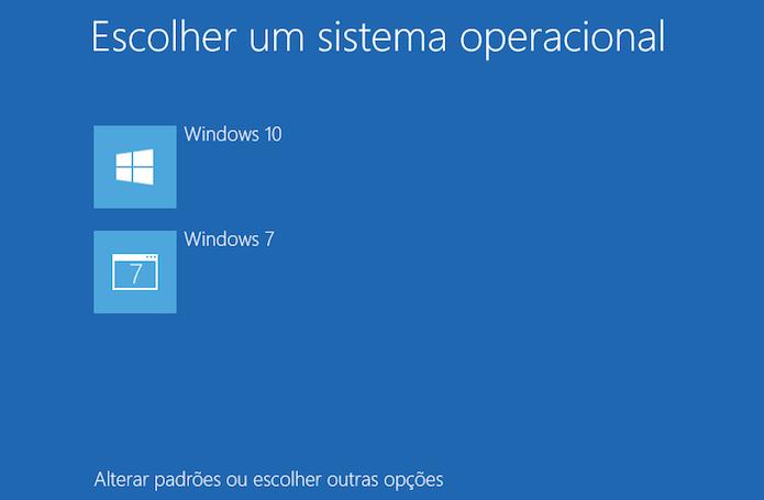 Selecionando o Windows na inicialização do PC (Foto: Reprodução/Edivaldo Brito)