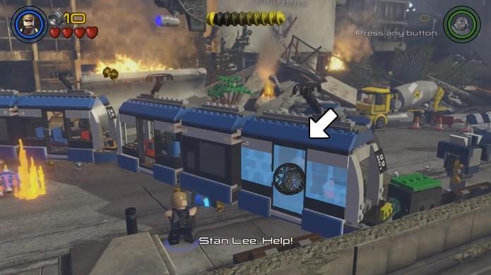 Liberte Stan Lee do último vagão desta fase em LEGO Avengers com uma flecha do Gavião Arqueiro (Foto: Reprodução/Rafael Monteiro)
