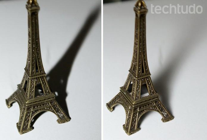 Foto da esquerda sem o difusor e da direita com o difusor  (Foto: Raíssa Delphim/TechTudo)