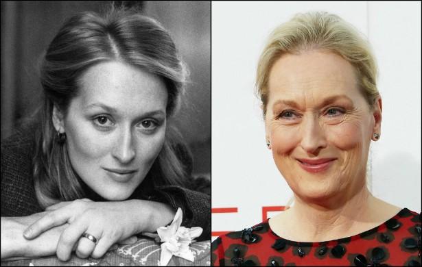 Meryl Streep com 30 anos, no início de 1980, e agora, aos 65 anos. (Foto: Getty Images)