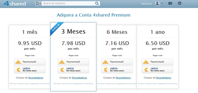 Conta Premium do 4Shared (Foto: Reprodução/Barbara Mannara)