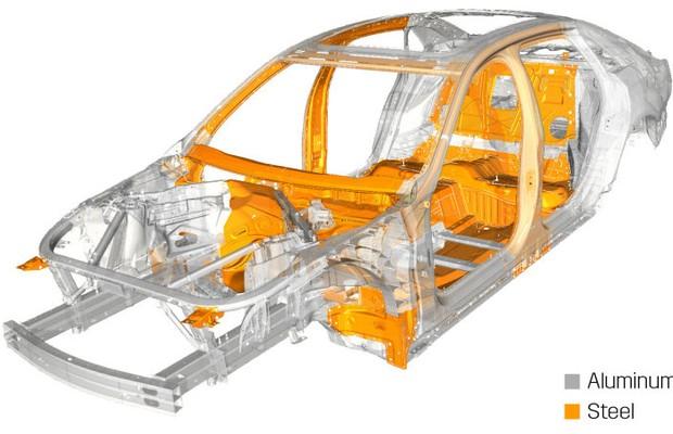Estrutura do Cadillac CT6 mostra as partes cinza em alumínio (Foto: Divulgação)