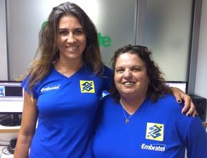 Maria Elisa, ao lado da amiga e treinadora, Letícia Pessoa (Foto: Vinicius Lima/GloboEsporte.com)