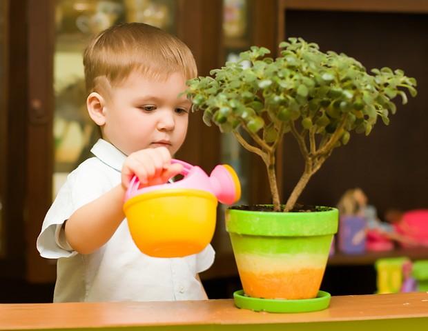 Criança regando a planta (Foto: Shutterstock)
