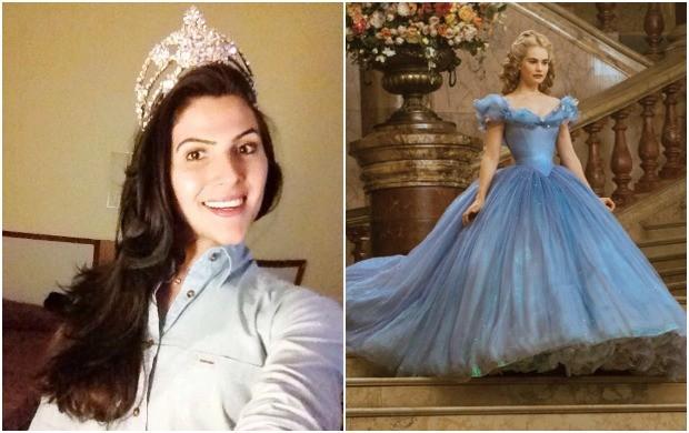Melissa faz pose de princesa em homenagem à estreia de 'Cinderela' nos cinemas (Foto: Arquivo Pessoal; Divulgação)