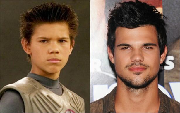 Você lembra que Taylor Lautner, astro da 'Saga Crepúsculo', é também co-protagonista de 'As Aventuras de Sharkboy e Lavagirl em 3-D' (2005)? O ator tem 22 anos atualmente. (Foto: Reprodução e Getty Images)
