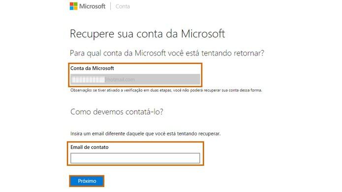 Confirme os dados e digite um e-mail pessoal para recuperar a senha do Outlook.com (Foto: Reprodução/Barbara Mannara)
