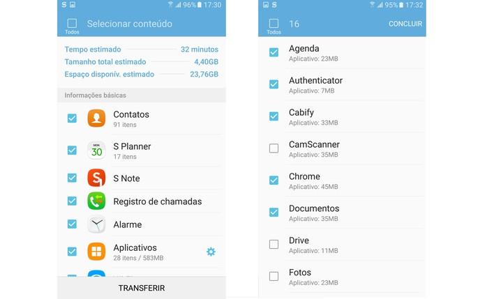 Escolha quais dados e aplicativos quer transferir para o Galaxy S7 (Foto: Reprodução/Isabela Giantomaso)