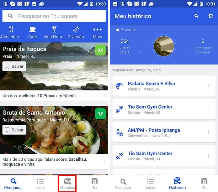 Foursquare tem nova coluna com histórico de locais visitados por usuário (Foto: Reprodução/Elson de Souza)
