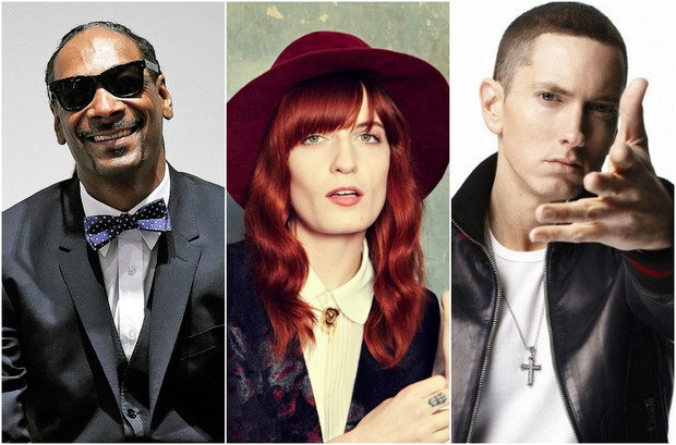 Snoop Dogg, Florence Welch e Eminem (Foto: Divulgação)