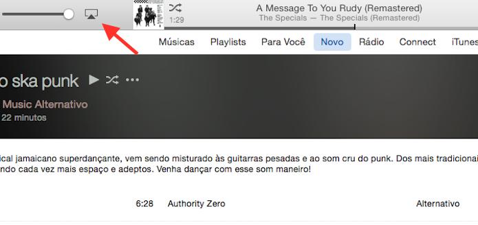 Acessando as opções de compartilhamento de áudio do iTunes (Foto: Reprodução/Marvin Costa)