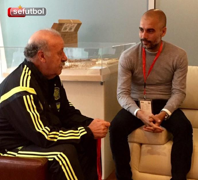 BLOG: Intercâmbio de astros: Guardiola encontra Del Bosque em visita à seleção espanhola