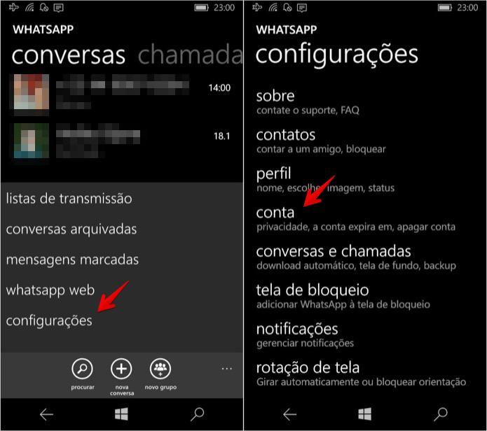 Acesse as configurações do WhatsApp (Foto: Reprodução/Helito Bijora)  (Foto: Acesse as configurações do WhatsApp (Foto: Reprodução/Helito Bijora) )