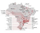 Mapa mostra locais onde  houve protesto (G1)