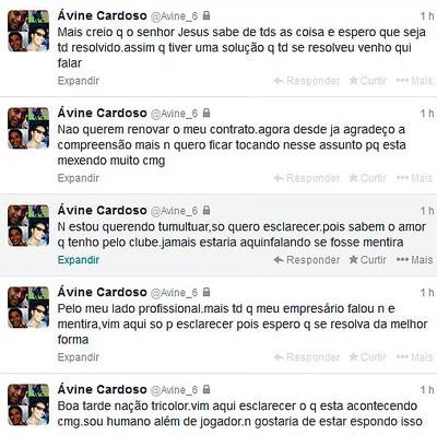 Twitter de Ávine; Bahia (Foto: Reprodução)