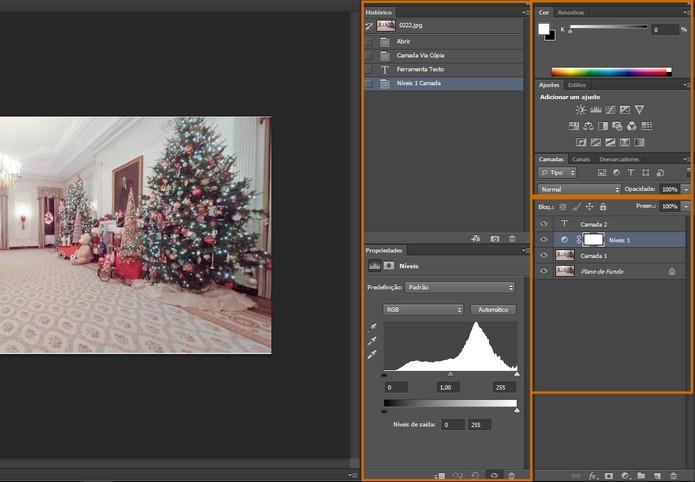 Lateral direita do Photoshop CS6 contém o painel de layers, atalhos para ajustes e mais ferramentas (Foto: Reprodução/Barbara Mannara)