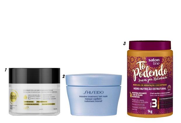 1. Máscara Restauradora Óleos Preciosos, OP Beauty. 2.Intensive Hair Mask, Shiseido. 3. Máscara de Hidratação Tá Podendo, Salon Line (Foto: Divulgação)
