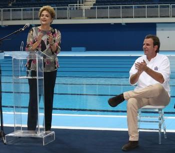 Inauguração Estádio Aquático Parque Olímipico Rio 2016 Dilma Rousseff Eduardo Paes (Foto: Beth Santos / Prefeitura do Rio)