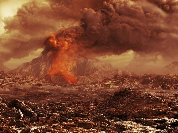 Concepção artística de um vulcão em atividade em Vênus (Foto: ESA/AOES)
