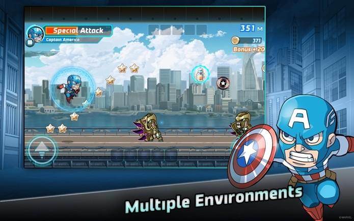 Capitão América, Homem de Ferro e outros heróis marcam presença no game (Foto: Divulgação)