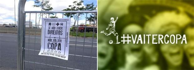 Cartaz em São Paulo convoca manifestantes para um protesto contra a Copa do Mundo (à esq.) e imagem publicada na página do Facebook do PT defende a Copa do Mundo no Brasil (Foto: ÉPOCA e Reprodução)