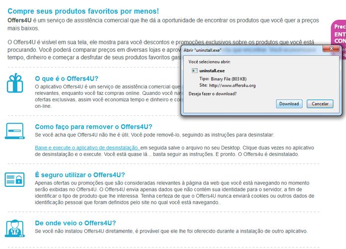Download do desinstalador do Offers4U (Foto: Reprodução/ Marcela Vaz)