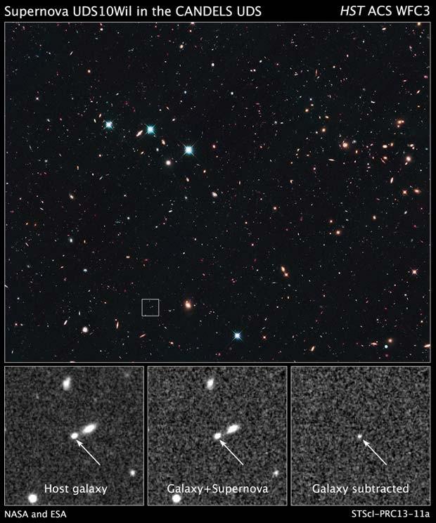Imagem do Universo com destaque para a supernova SN Wilson (Foto: NASA, ESA, A. Riess (STScI e JHU), e D. Jones e S. Rodney (JHU))