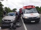 Acidente com três carros e uma moto deixa duas pessoas feridas na Paraíba