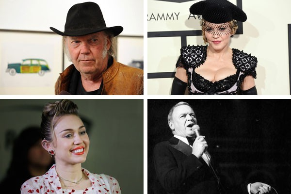 Neil Young, Madonna, Miley Cyrus e Frank Sinatra fazem parte do grupo que consideram (ou consideravam) alguma música de seu portfólio uma verdadeira pedra no sapato  (Foto: Getty Images)
