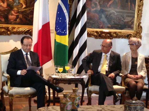 Presidente da França, François Hollande, e o governador Geraldo Alckmin  (Foto: Letícia Macedo/G1)